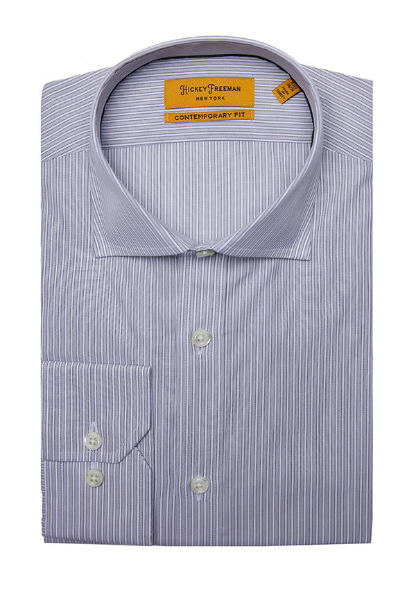 Grey Two Tone Rope Stripe 120'S Dress Shirt