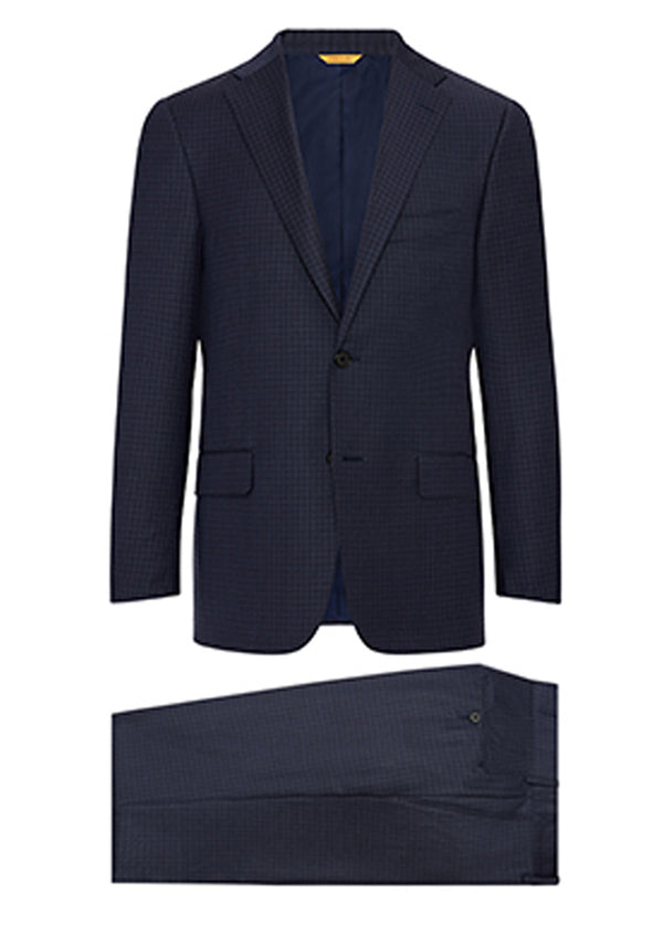 Navy Minicheck Super 160s Suit