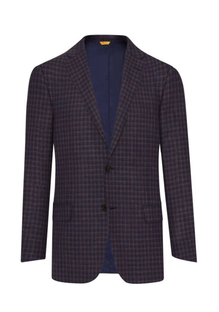 Blue-Brown Mini Check Jacket