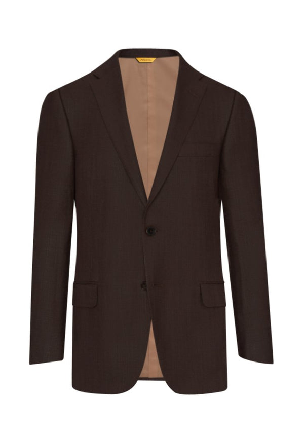 Brown Solid Silk Wool Jacket