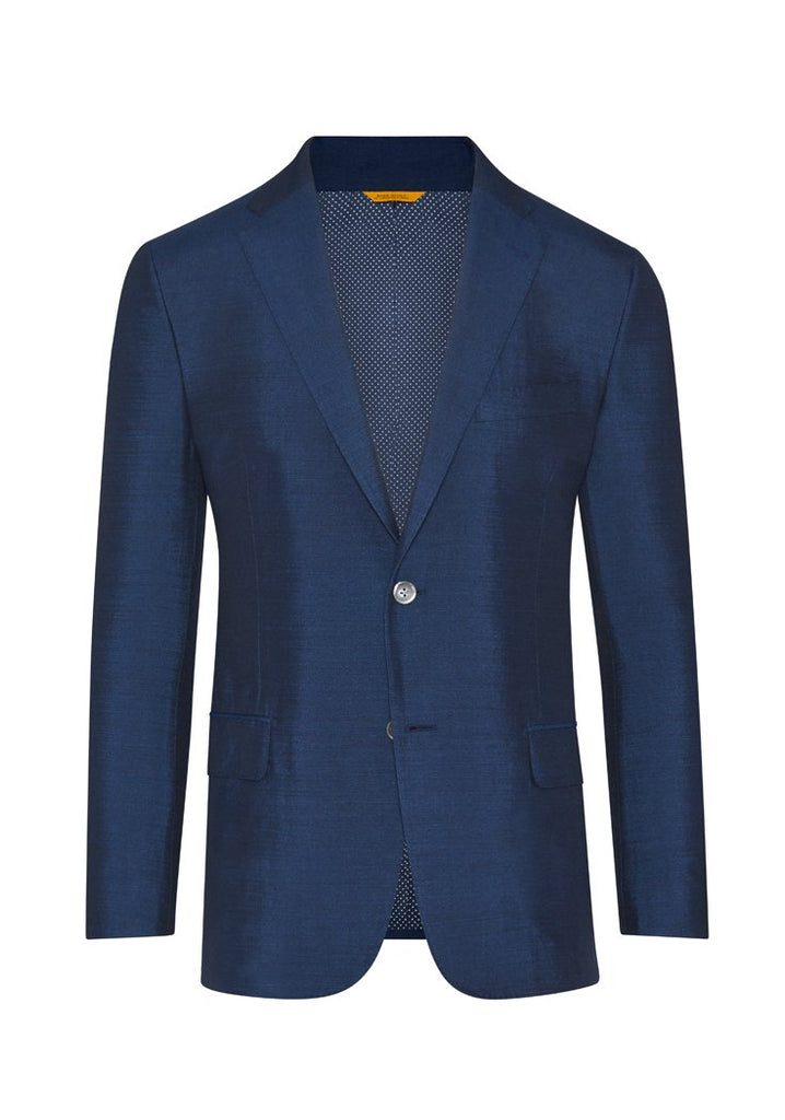 Dark Blue Dupioni Silk Jacket