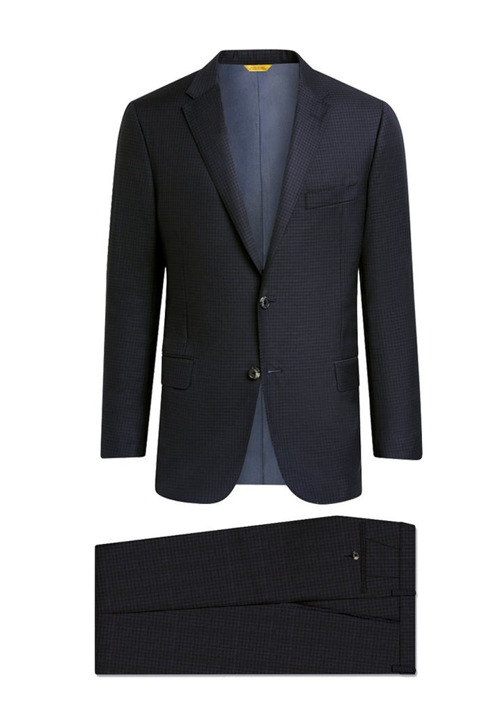 Navy Minicheck Traveler Suit