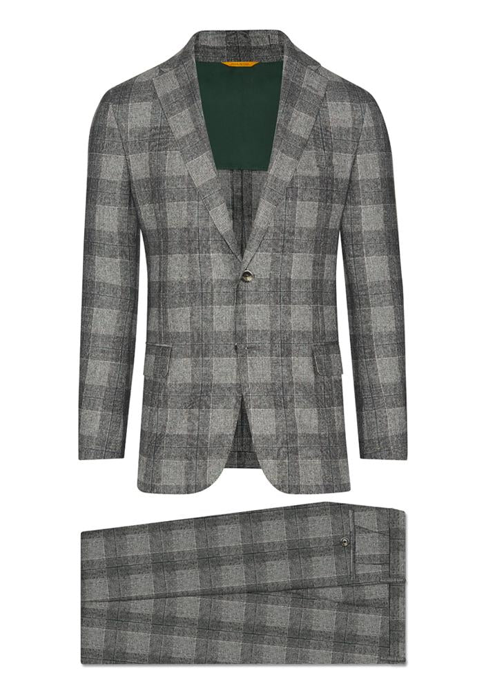 Hickey Freeman Black/White Glen Plaid Suit