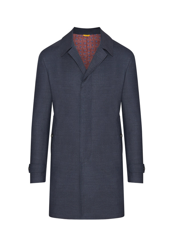Slate Blue Sharkskin Doublefaced Overcoat