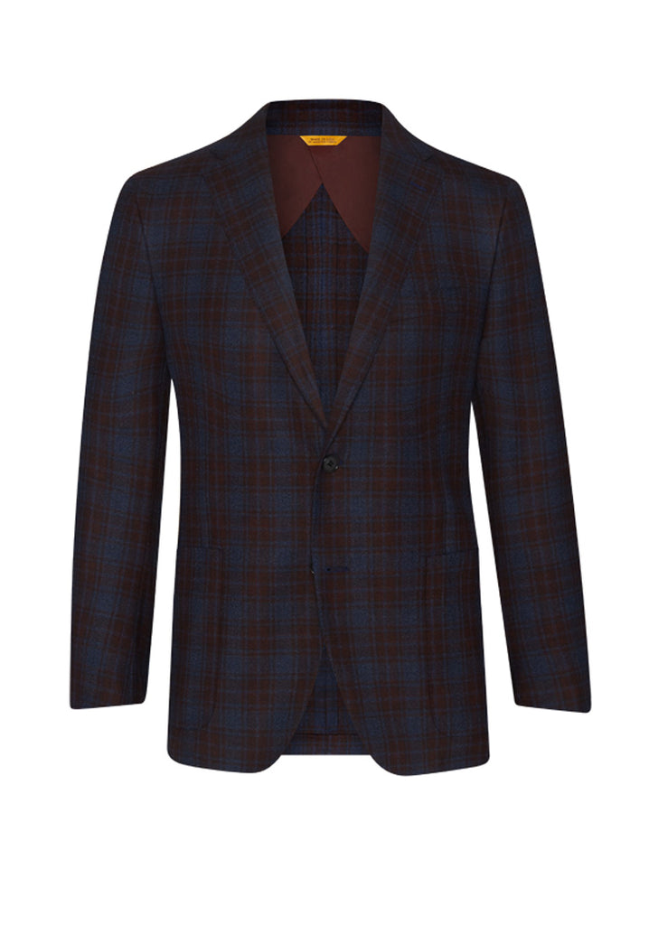 Navy/Burgundy Plaid Mouline Twist Jacket
