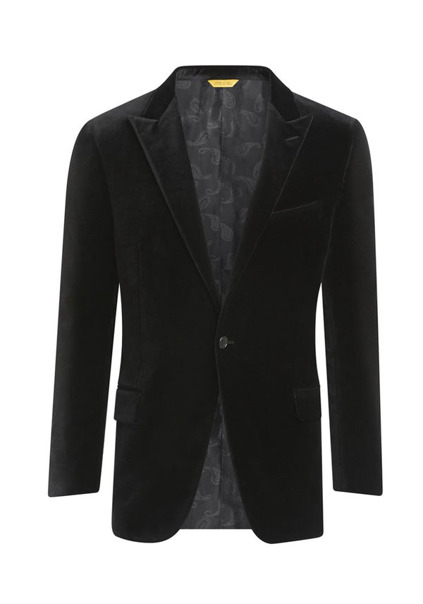 Black Stretch Velvet Dinner Jacket