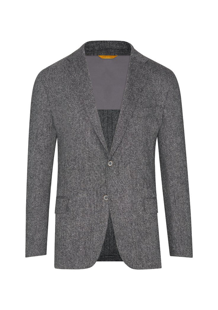 Grey Stretch Donegal Tweed Jacket