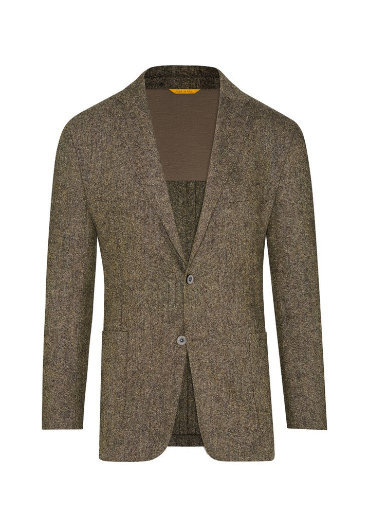 Olive Stretch Donegal Tweed Jacket