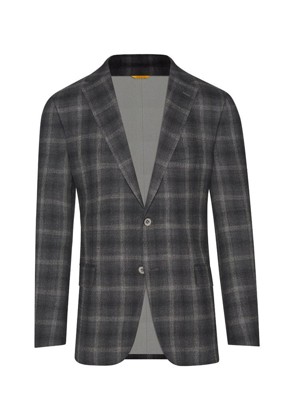 Wool Crepe Charcoal Plaid Jacket
