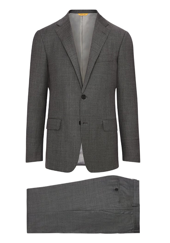 Hickey Freeman Pewter Grey Sharkskin Traveler Suit H Fit