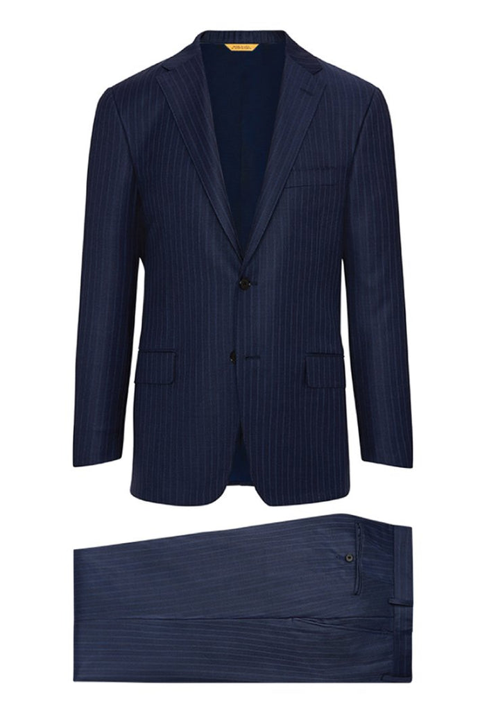 Hickey Freeman Navy Blue Stripe Tasmanian Suit: B Fit