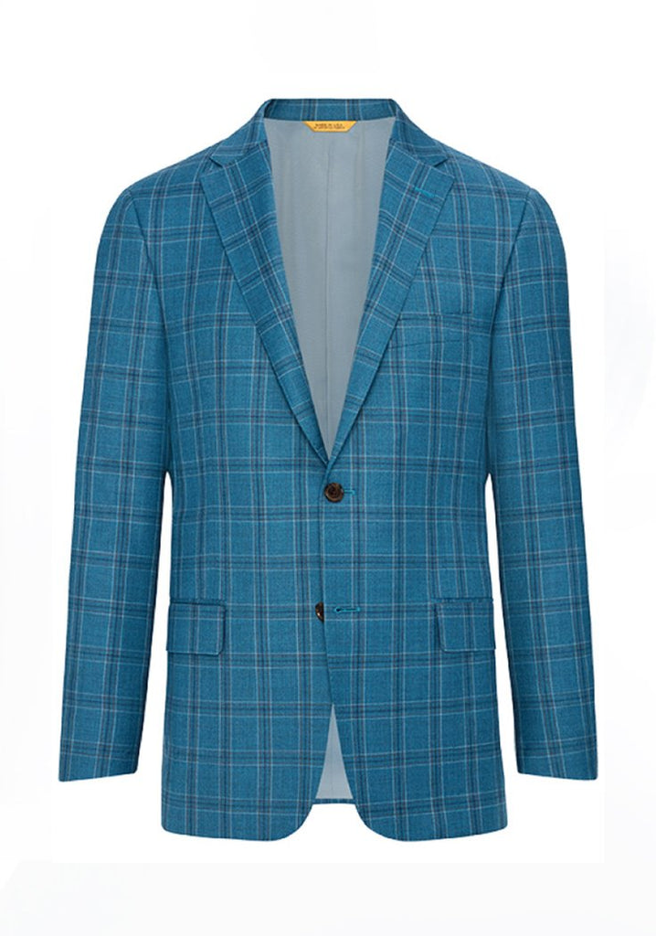 Hickey Freeman Teal Plaid Rain System Jacket: B Fit