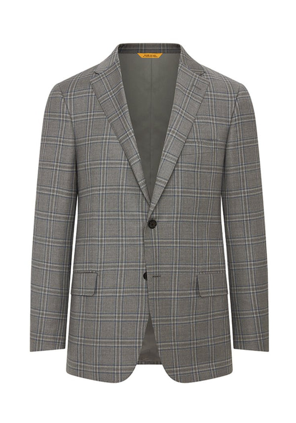 Pewter Grey Plaid Traveler Jacket: B Fit