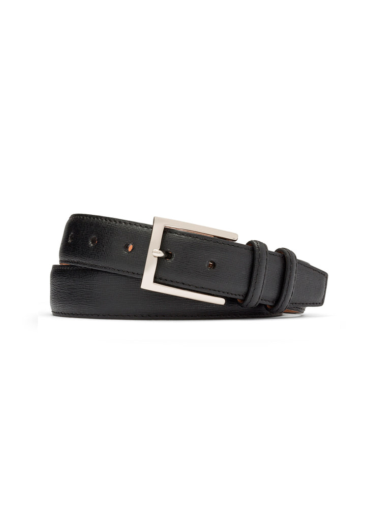 Black Mini Cross Calfskin Belt