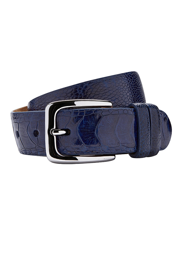 Royal Blue Ostrich Leather Belt