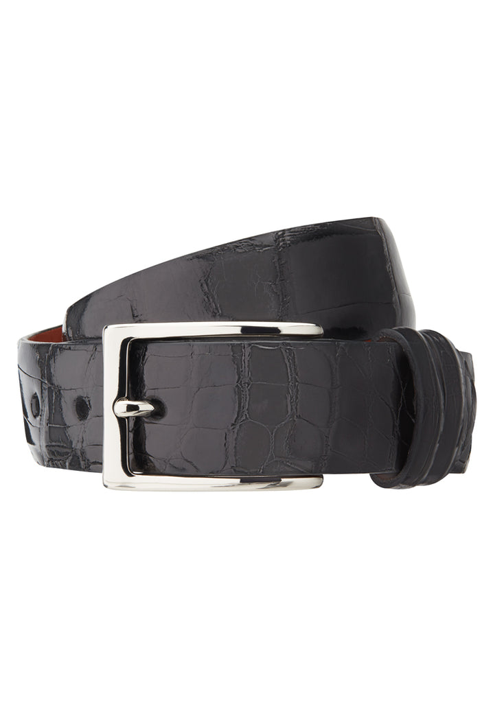 Black Glazed Alligator Belt