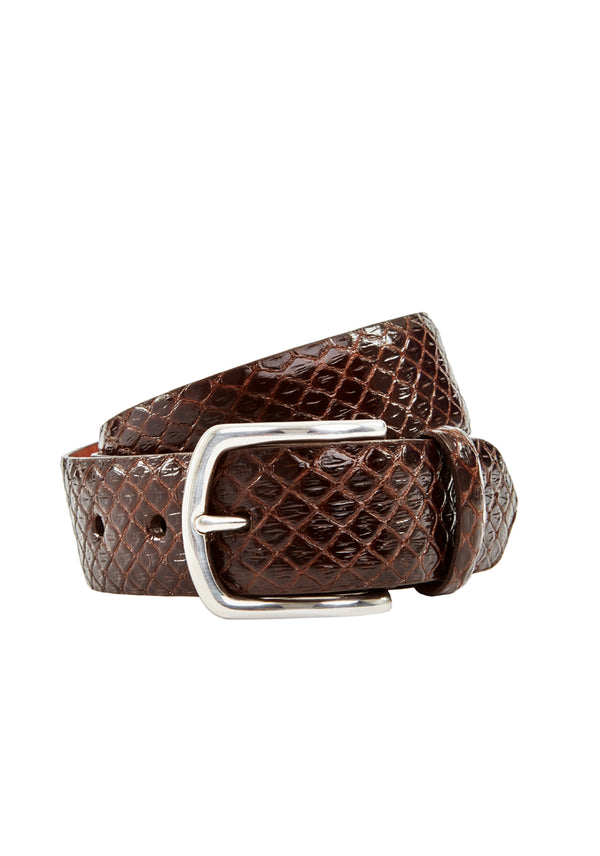 Chocolate Exotic Leather Belt