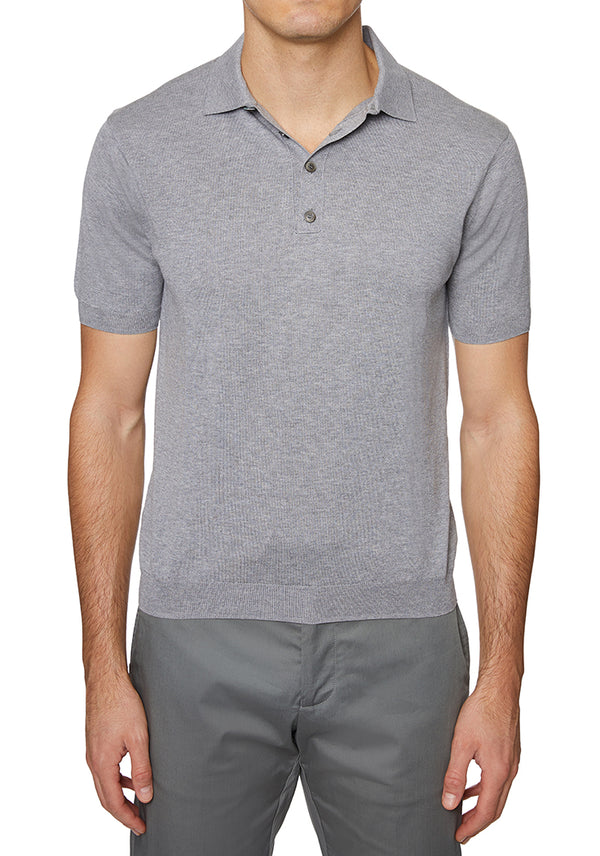 Silver Melange Italian 3 BUTTON POLO