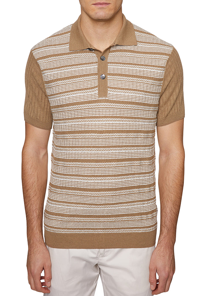 Tan Italian 3 BUTTON POLO