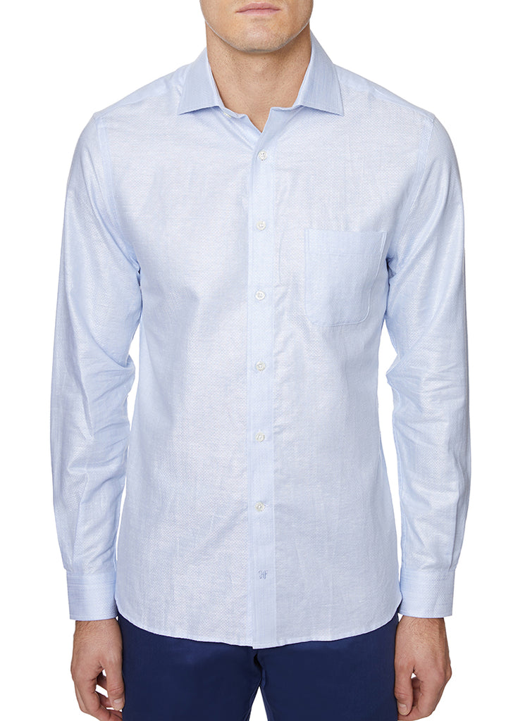 Light Blue Italian Cotton Sport Shirt