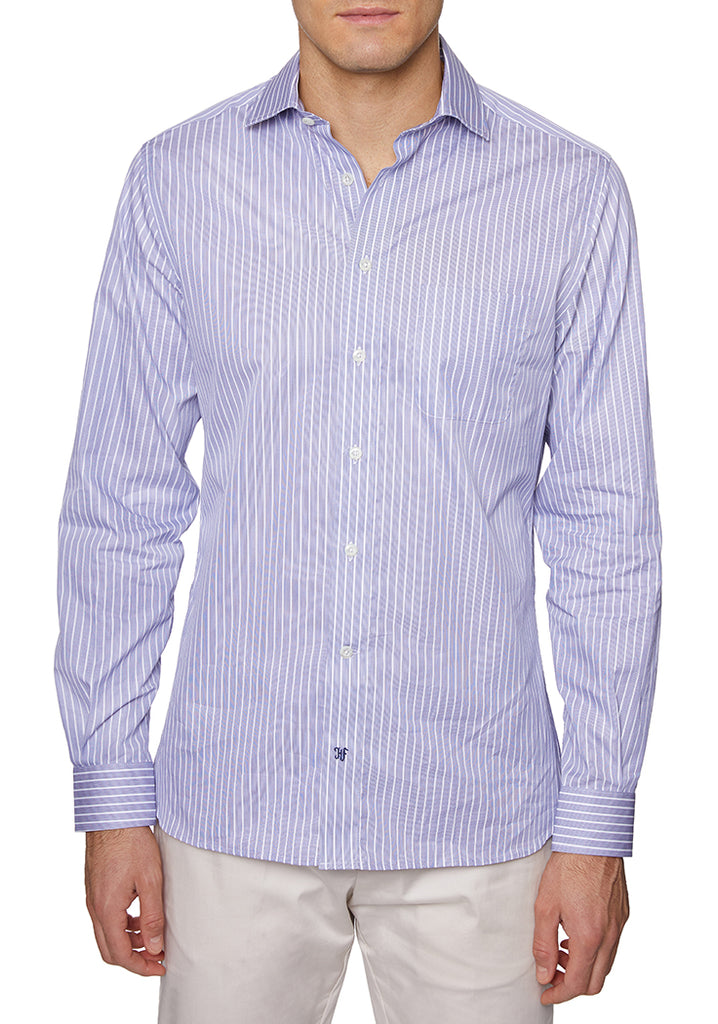 Navy Italian Cotton Sport Shirt