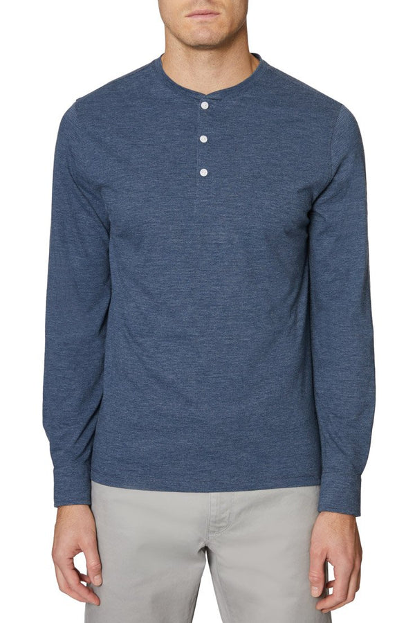 Heather Blue Long Sleeve Henley