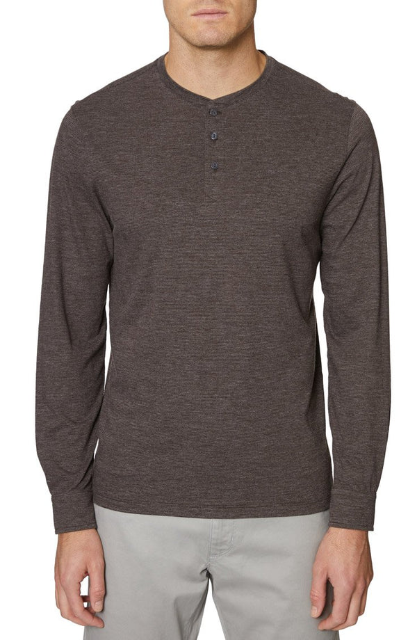 Heather Brown Long Sleeve Henley