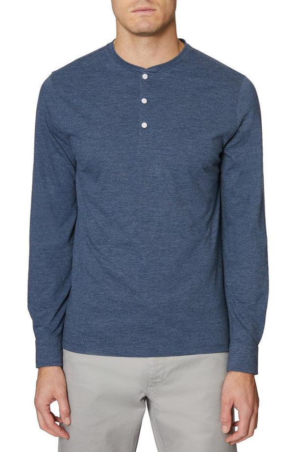Heather Navy Long Sleeve Henley