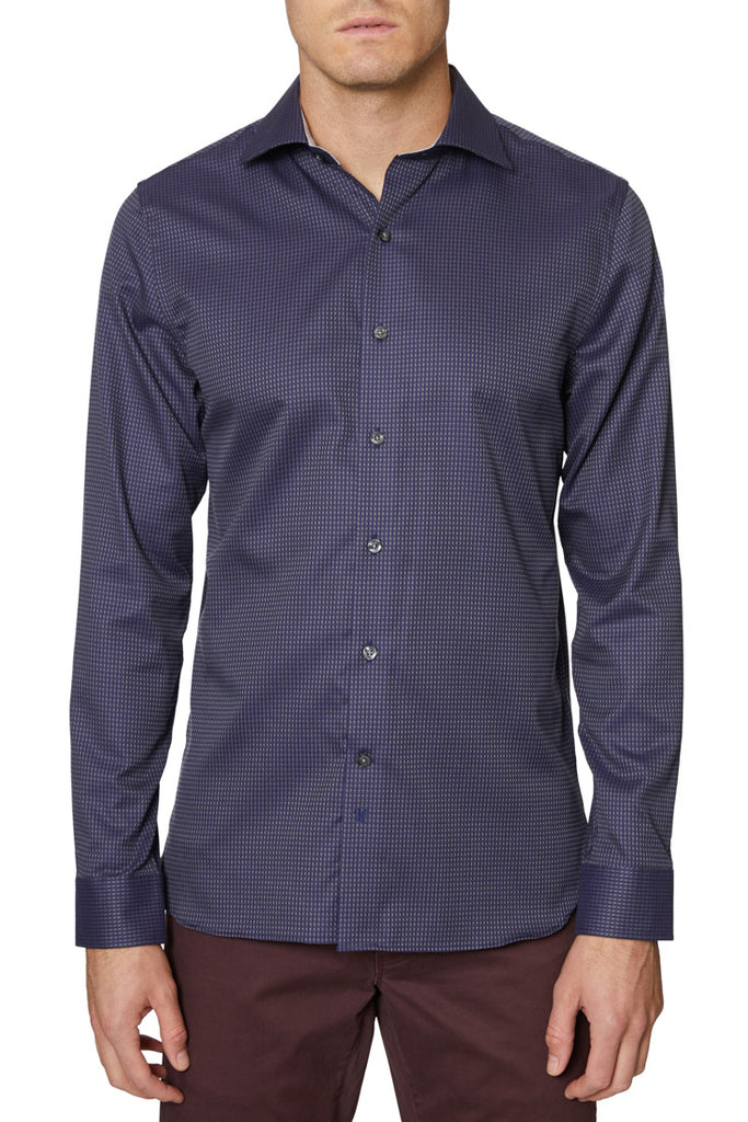 Navy Bleecker Jacquard Shirt