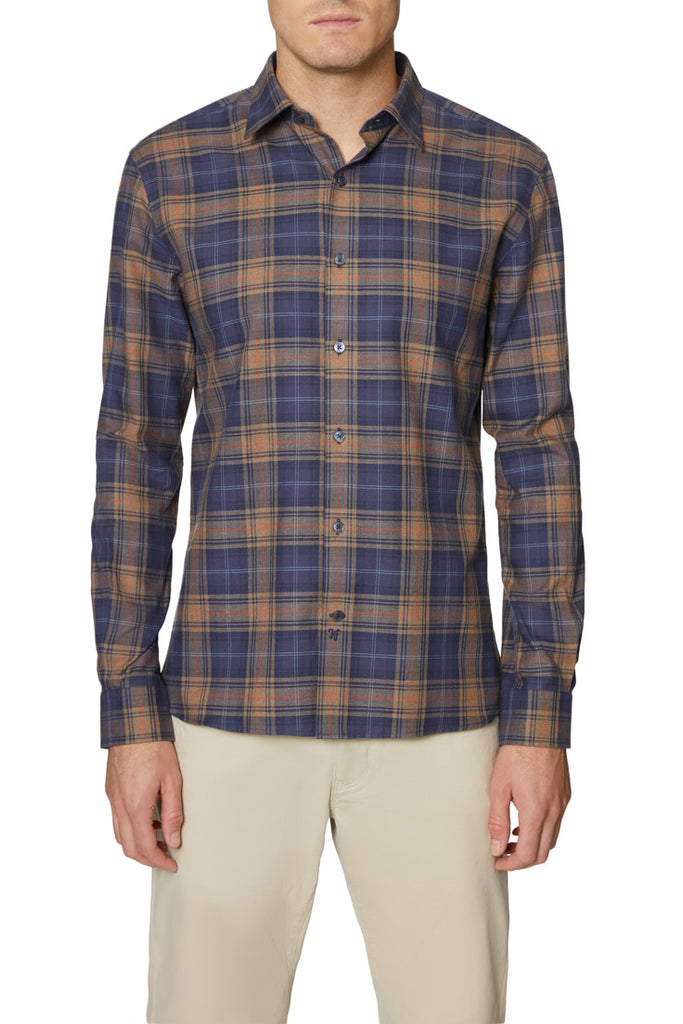 Navy Brown Christopher Hidden Button Down