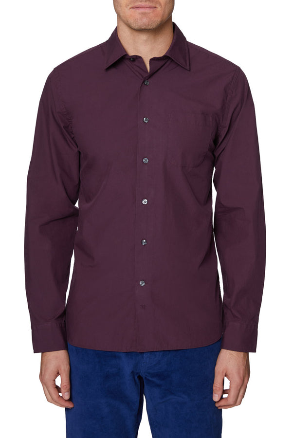 Wine Mercer Solid Cotton Shirt