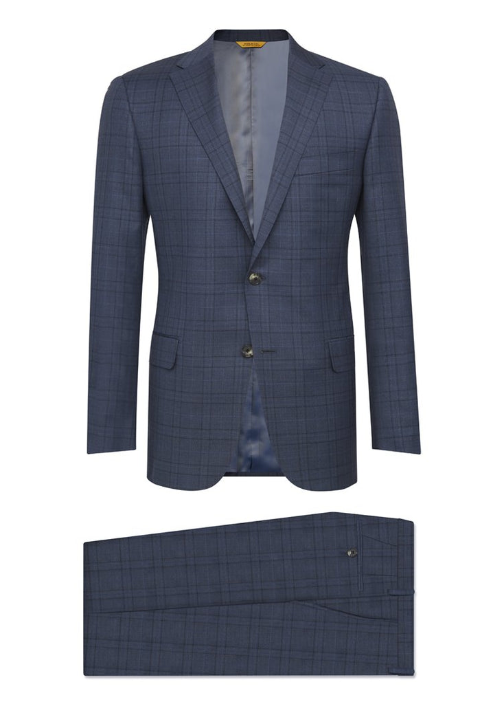 Slate Blue Plaid Traveler Suit