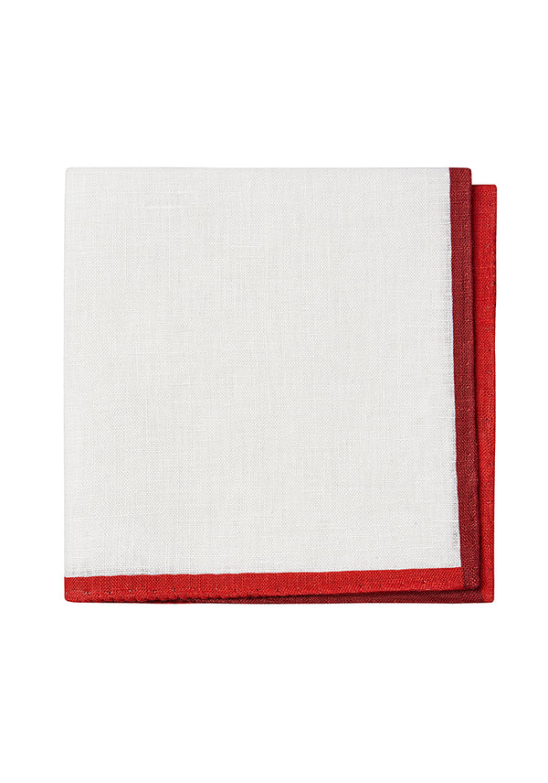 White/Red Linen Pocket Square
