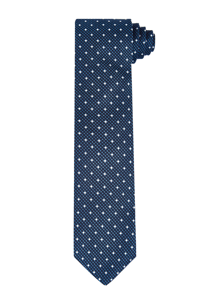Blue Dot Check Silk Tie