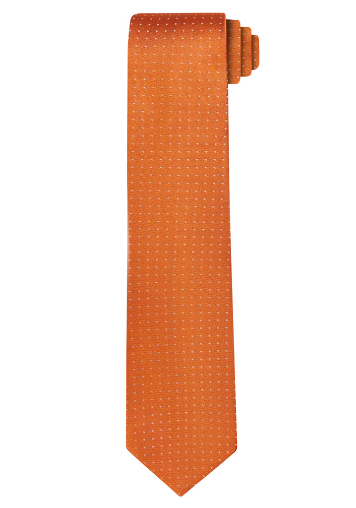 Orange Jacquard Pin Dot Tie