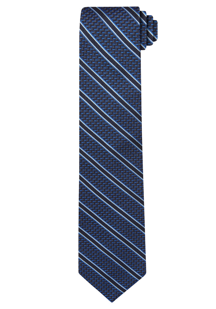 Blue Jacquard Textured Stripe Tie