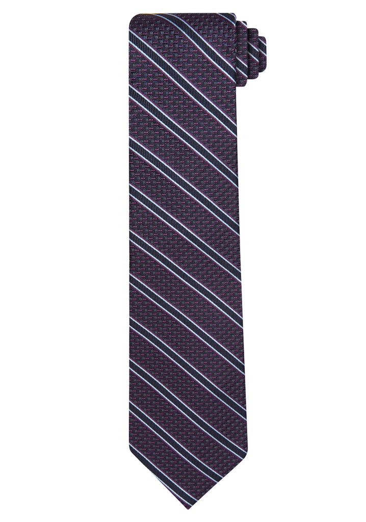 Berry Jacquard Textured Stripe Tie