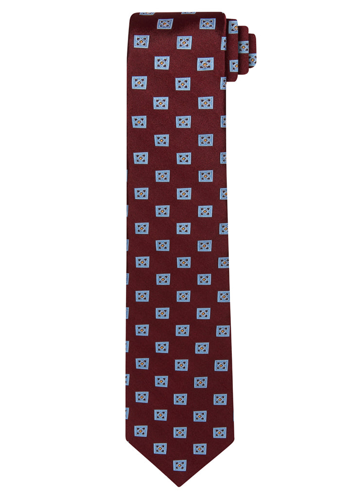 Burgundy Jacquard Satin-Faced Squares Tie