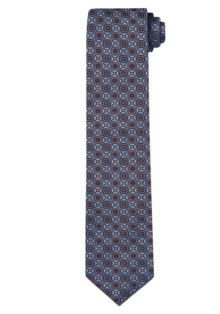 Blue Jacquard Abstract Medallion Tie