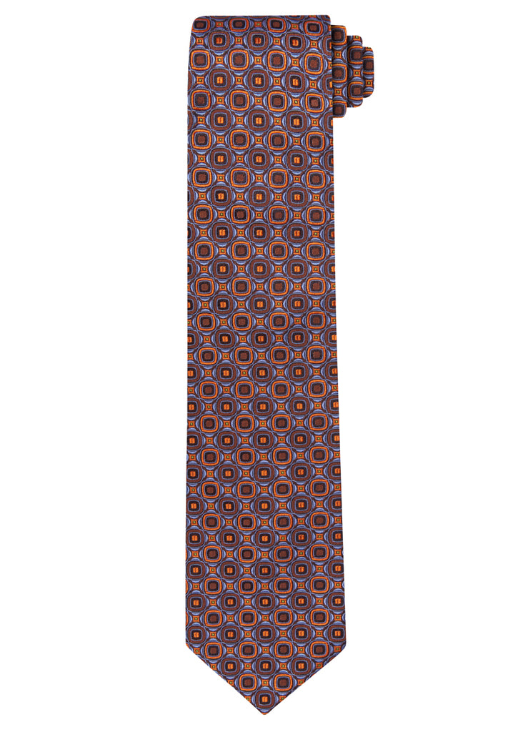 Rust Jacquard Abstract Medallion Tie