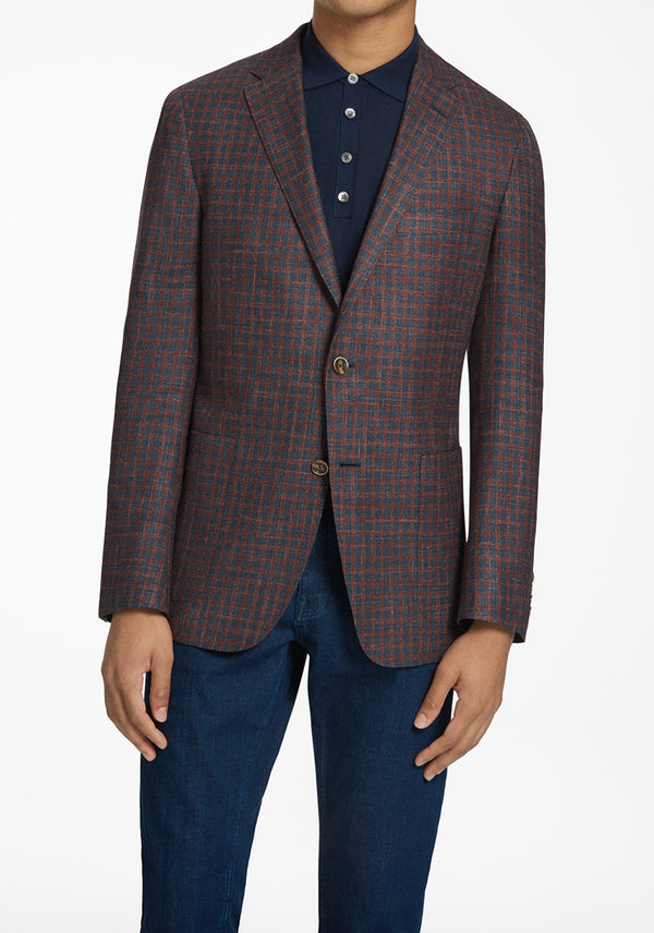 Hickey Freeman Burgundy Check Weightless Jacket