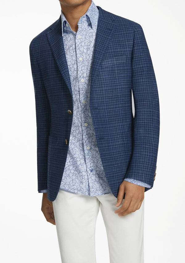 Hickey Freeman Navy Check Weightless Jacket