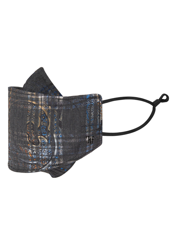 Taupe Printed Plaid Mask