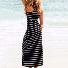Load image into Gallery viewer, 2019 Fashion Women Striped Boho Long Maxi Dress Newest Sleeveless Beach Vest Dresses
