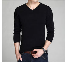 Load image into Gallery viewer, Laamei Cotton Sweater Men Long Sleeve Pullovers Slim  Man V-Neck Sweaters Tops Loose Solid Color Knitting Clothing Male Pull