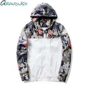 Grandwish Floral Bomber Jacket Men/Women Hip Hop Slim Flowers Pilot Bomber Jacket Coat Men's Hooded Jackets Plus Size 4XL,PA571