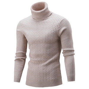 Laamei 2019 New Autumn Winter Men's Sweaters Male Turtleneck Solid Color Casual Sweater Men's Slim Fit Brand Knitting Pullovers