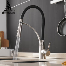 Load image into Gallery viewer, Kitchen Mixer LED Light Sink Faucet Brass Brushed Nickel Torneira Tap Kitchen Faucets Hot Cold Deck Mounted Bath Mixer Tap 7661