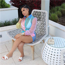 Load image into Gallery viewer, Adogirl Color Patchwork Sheer Organza Two Piece Set Front Tie Long Sleeve Blouse Shirt Top + Shorts Fashion Casual Women Outfits