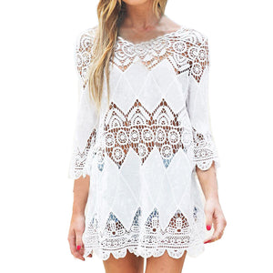 Women Swimsuit Lace Hollow Crochet Beach Bikini Cover Up 3/4 Sleeve White Tops Swimwear Beach Dress Tunic Shirt narzuta na plaza